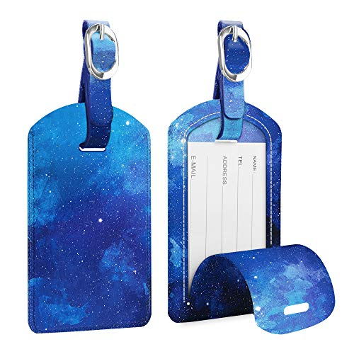 2 Pack Luggage Tags, Fintie PU Leather Name ID Labels with Privacy Cover for Travel Bag Suitcase (Starry Sky)