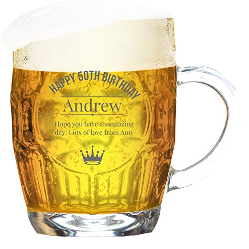 GiftsOnline4U Personalised Birthday Tankard Glass Dimple Engraved/Traditional/1 Pint/20 Ounces/Gift Box