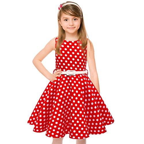 Girls Vintage Dresses Girls' Special Occasion Dress 50s Retro Kids Dresses Swing Rockabilly Sleeveless, Red Polka Dot, Size 8