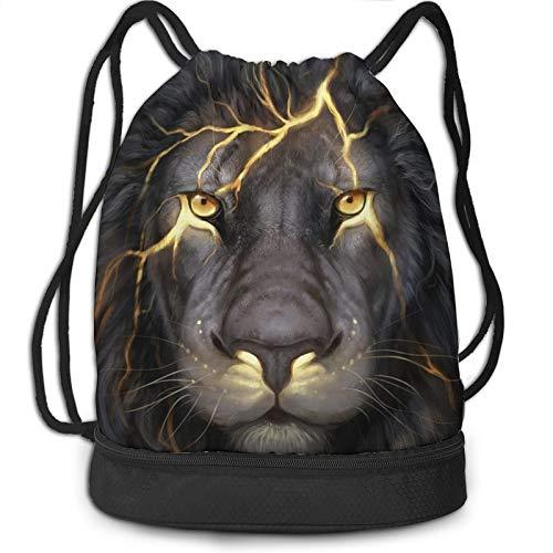 Drawstring Bag for Men Women Cool Magic Lion...