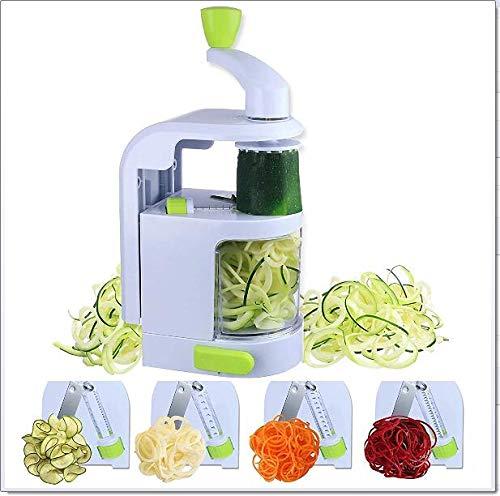 Vegetable Slicer, calabacín espagueti fabricante Built-in 4-en-1 Blades, Veggie Spiralizer con fuerte ventosa