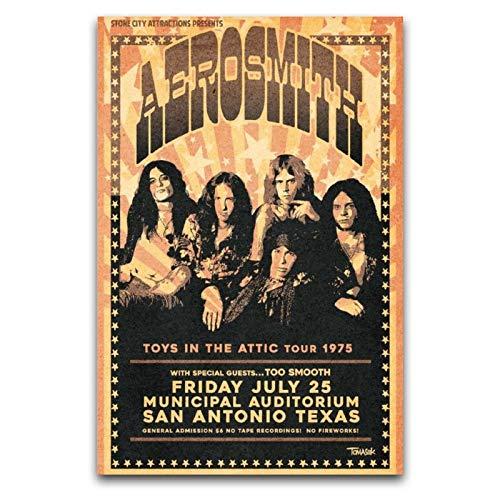 WPQL Aerosmith 1975 Tour-Poster, Poster, Dekoration, Malerei, Leinwand, Wandkunst, Schlafzimmer, Wohnzimmer, Poster, Gemälde, 30 x 45 cm