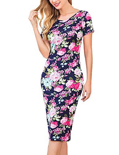 Hotouch Damen Blumen Schatz Bodycons Midi-Kleid Kurzarm Scoop hals Bleistift dünnes Kleid groß 2_Marine Blau