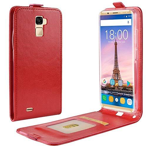Sangrl Tasche Für Oukitel K5000, Hohe Qualität PU Leather Flip Hülle Soft Texture up & Down Open Tasche Ledertasche Rot