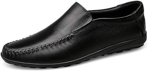 Xiangbao Mocassins de Conduite Simples Simples Simples pour Homme, Style décontracté Doux et Confortable à Enfiler à l'intérieur en Polaire (conventionnel en Option) - Noir - Noir, 39 EU da8