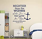 Mightier Than The Waves Of The Sea Psalm 93:4 Quote Wall Decal Vinyl Lettering Nautical Anchor Living Room Bedroom Nursery Kids Decor