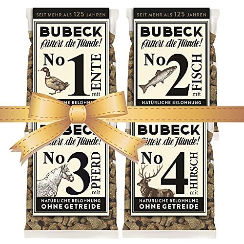 seit 1893 Bubeck Hundeleckerli getreidefrei | Multipack 4 x 210g | mit Ente, Fisch, Pferd & Hirsch Hundekekse für Hunde Aller Rassen Zuckerfrei