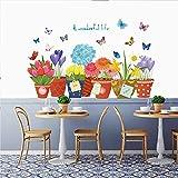 【Vif & Style créatif】Allez! Ajoutez de la couleur et du plaisir à votre vie! Des fleurs vives entourées de papillons expriment votre attitude envers la vie, positive et enthousiaste. Créez facilement un décor vivant et créatif pour votre maison. 【Mat...