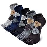 PUTUO Calcetines Dedos Hombres Calcetines de Deportes de Algodón, Hombres Cinco Calcetines del dedo del pie, 5 pares (Multicolor-6)