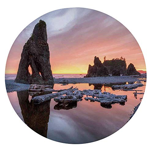 Elastic Edged Polyester Fitted Tablecloth,Sunset Theme Sea Stacks and Driftwood at Ruby Beach Digital Image Table Cover,Fits Round Tables 45-48',for Holiday Home Christmas Party Picnic Orange and Grey