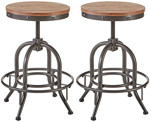 Pioneer Square Dane Metal-and-Wood Counter-Height Swivel Bar Stool