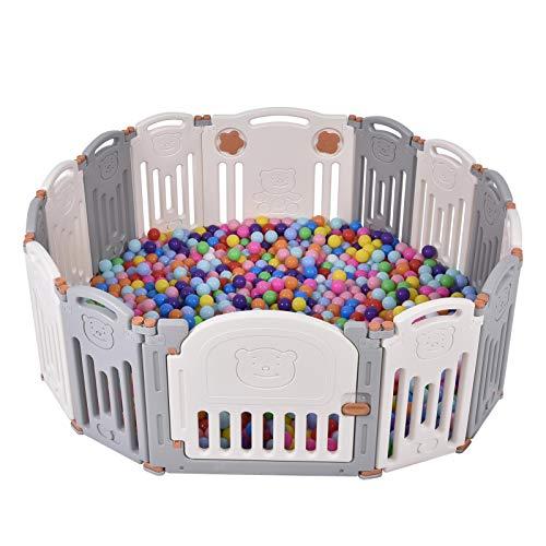 ZHANGHAN Parque infantil con puerta y juguete, 14 unidades, material HDPE, sin BPA, plegable, para bebés, familias, oso, cercado de seguridad con cerradura