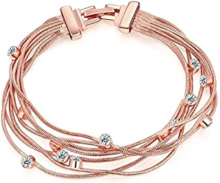 Swarovski elements 18K rose gold plated Elegent zircon bangle multilayer bracelets for women LKN102