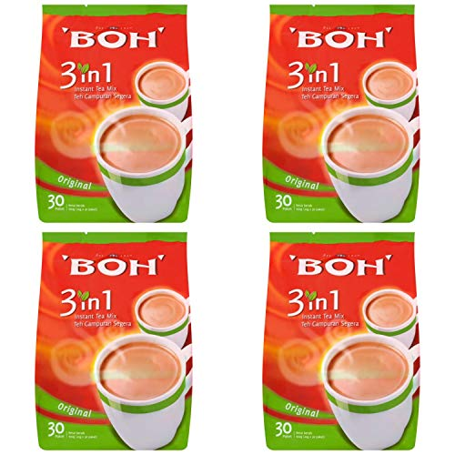 4 Pack BOH Original 3 in 1 Instant Tea Mix Imported from Malaysia (4 x 30 Sachets)