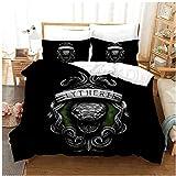 QWAS Harry Potter Slytherin - Juego de ropa de cama con impresión 3D, 100% microfibra, fácil de limpiar (A01, 140 x 210 cm + 50 x 75 cm x 2)