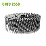 meite CNFS2550S 15 Degree 2''x 0.099'' Wire Coil Screw Shank Industrial Coil Siding Nails 2400 PCS/PACK