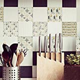 YQYMSPX Pegatinas para azulejos de cocina, baño, 15 x 15 cm, impermeables, autoadhesivas, para cocina, baño, sala de estar, TV, decoración de fondo, 1 juego de 20 unidades