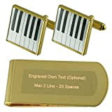 Select Gifts La musica di tasti di pianoforte Gold-tone gemelli denaro inciso Clip Set regalo