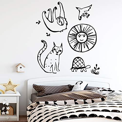 Yaonuli dierlijk zelfklevend vinylbehang kinderdagverblijf kamerdecoratie voor kinderkamerdecoratie