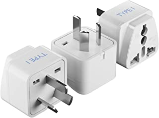 Ceptics World (USA, UAE, India & More) to Australia Universal Travel Plug Adapter (Type I) - Charge your Cell Phones, Laptops, Tablets - Grounded - 3 Pack (GP-16-3PK)