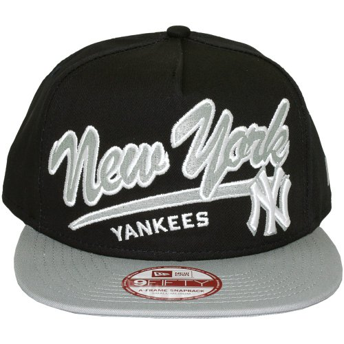 New Era – Gorra con visera plana para hombre New York Yankees 9 Fifty Script Logo, Azul (azul marino), Unique