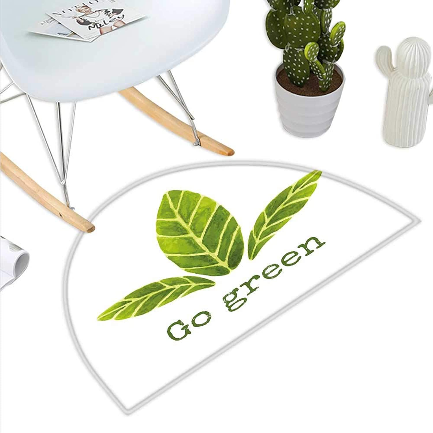 Sage Semicircle Doormat Ecological Concept Hand Painted Style Watercolor Leaves with Go Green Inspirational Halfmoon doormats H 47.2  xD 70.8  Green White