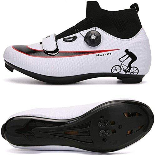 CHUIKUAJ Zapatillas de Ciclismo de Carretera - Zapatillas de Ciclismo para Hombre,Calzado de Bicicleta Ligero Resistente Al Desgaste Calzado de Bicicleta Zapato de Bicicleta de Montaña,White-EU47