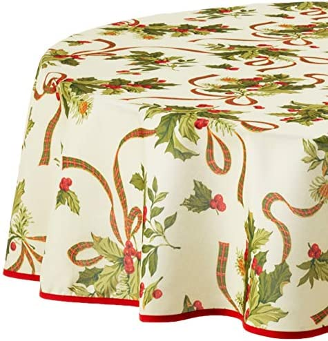 Violet Linen European Seasonal Christmas Ribbons Tablecloth 60 Round Beige product image