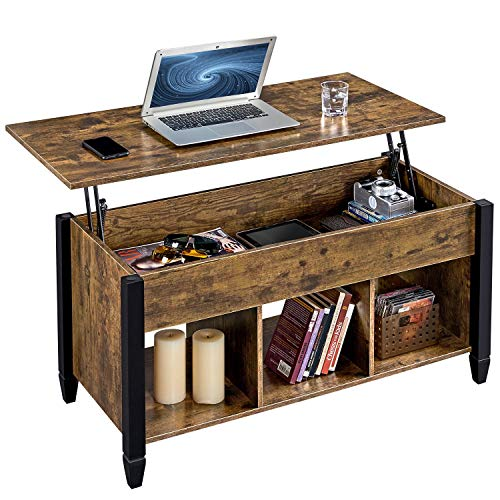 YAHEETECH Lift Top Coffee Table with Hidden Compartment & Shelf, Rustic Style Lift Tabletop Dining/Center Table for Living Room Reception, Solid Wood Legs