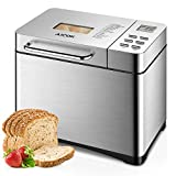 Aicok Stainless Steel Bread Machine, 2LB 19-in-1 Programmable Bread Maker with Fruit Nut Dispenser, Nonstick Ceramic Pan, 3 Crust Colors & 3 Crust Colors, Gluten-Free Setting, Reserve& Keep Warm Set