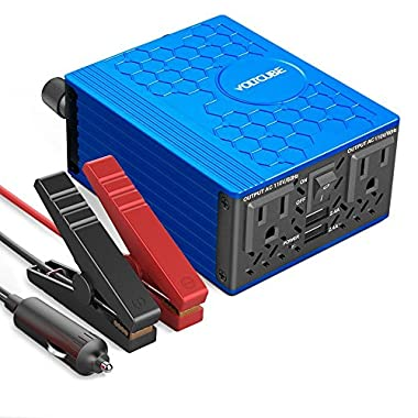 VOLTCUBE Power Inverter 12V DC to 110V AC Converter with 4.8A Dual USB Car Adapter with 2 Independent AC outlets, 400 W