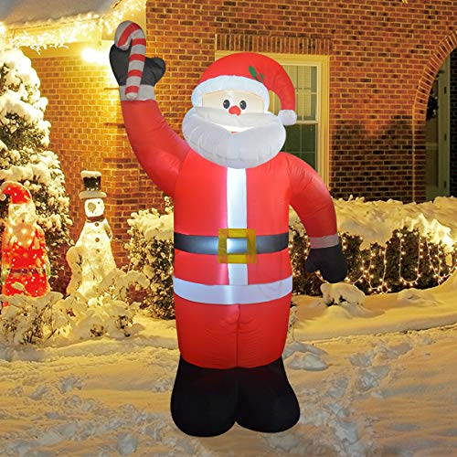 COMIN 8Foot High Christmas Inflatable Blow up Santa Claus with A Cane Yard Decoration, Indoor Outdoor Garden Christmas Decorations.