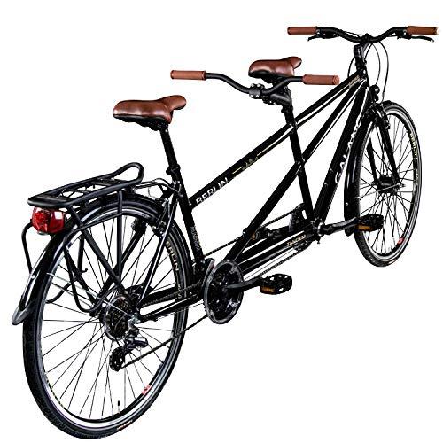 Galano Tandem Fahrrad 700c Berlin 28 Zoll Trekkingrad 21 Gang Shimano Touring (schwarz, 51/46 cm) - 3
