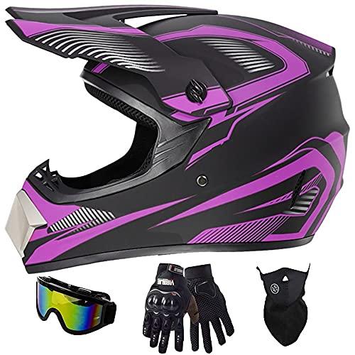 Casco Motocross Niño Casco De Cross-Country BMX MX ATV con Gafas/Máscara/Guantes, Casco De Motocicleta Todoterreno con Certificación Dot ECE (55~62 Cm)