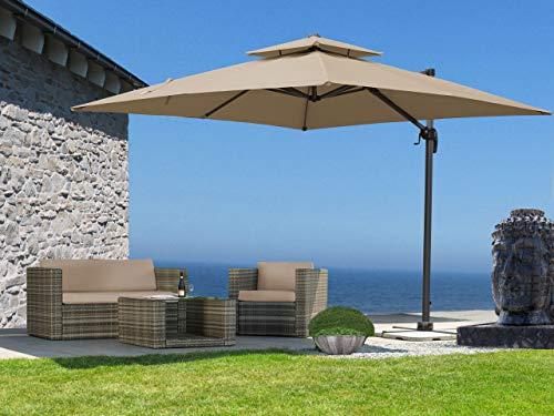 QUICK STAR Ampelschirm Premium Mallorca 3x3m Sand UV 50 Terrassenschirm Sonnenschirm