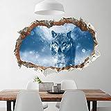 AmyGline DIY 3D Wandaufkleber Abnehmbare Moonlight Wolf