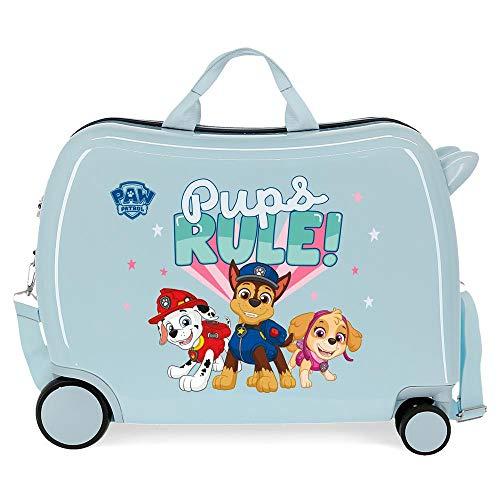 La Patrulla Canina Paw Patrol Playful Maleta Infantil 50x38x20 cms Rígida ABS Cierre de combinación Lateral 34L 3 kgs 4 Equipaje de Mano, Azul Claro