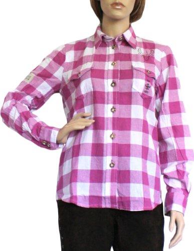 Trachtenbluse Damen Trachten Lederhosen-Bluse Trachtenmode brombeer kariert, Größe:42