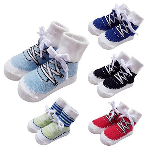 Sanlutoz Baby Socken Jungen Baumwoll Sock Sneaker Muster 0-6 12 Monate 5 Paar Geschenk Set (12-24 Monate, SOCKPK005 FIVE COLORS SET)
