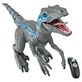 XLNB Remote Control Dinosaur Toys for Boys/Girls, Robot Dinosaur Raptor Toy with Walking and Roaring Realistic, Dinosaurs Robot Toy for Kids Gifts Age 3+,Blue
