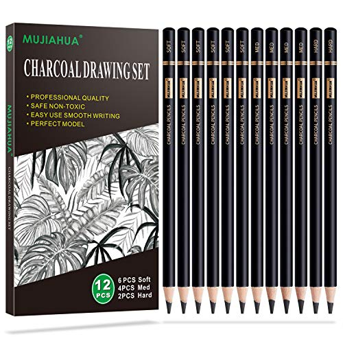 MUJINHUA Professional Charcoal Pencils Drawing Set - 12 Pieces Soft, Medium & Hard Charcoal Pencils for Drawing, Sketching, Shading, Ideal Artist Pencils for Beginners & Artists