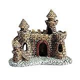 POPETPOP Adornos de castillo de acuario de resina para decoración de torre de castillo