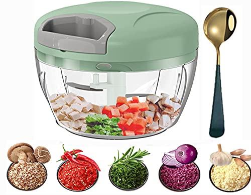 GazyShop--Picadora manual + cucharas de café, 500 ml picadora y batidora verduras, carnes, nueces, ceñones gracias a sus cuchillas de acero inoxidable para una cocina rápida y fácil