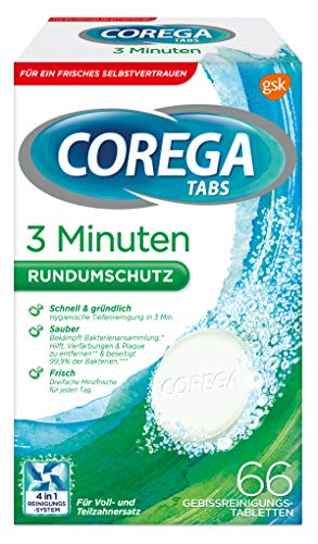 Corega Tabs 3 Minuten, für herausnehmbaren Zahnersatz/ dritte Zähne, 66 St.