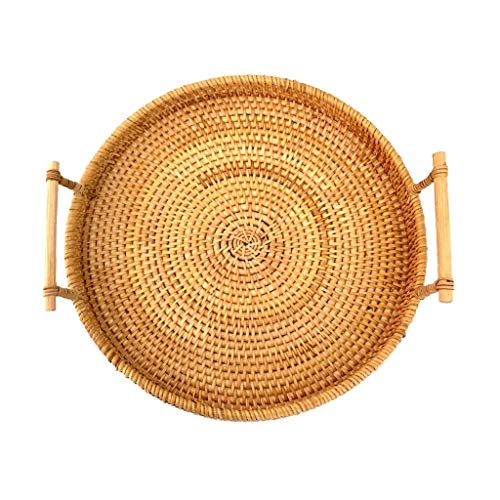 NRR Small Woven Bread Baskets with Handles Round Rattan Cracker Tray for Serving Dinner Parties Coffee Tea (9.4 inches Diameter)