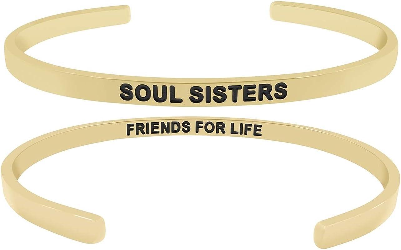 Soul Sisters Friends for Life'' Mantra Phrase Cuff Bracelet for Women, Teen Girls, Best Friends