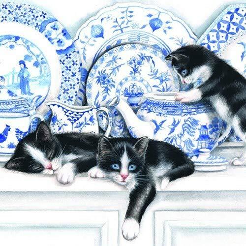 20 Servietten Katzen am Porzellan als Tiermotiv 33x33cm