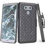 TILL for LG G6 Case, TILL [Thin Design] LG G6 Holster Locking Belt Swivel Clip Non-Slip Texture Hard Shell [Built-in Kickstand] Combo Case Defender Cover for LG G6 / G6+ All Carriers [Black]