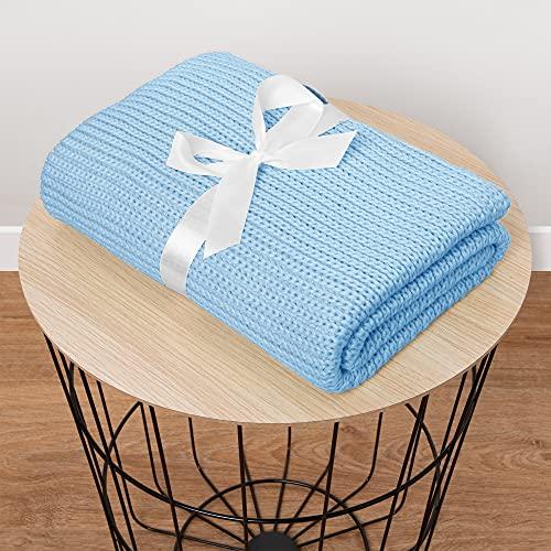 Mikos* Copertina Unisex I Coperta morbida per bambini I Copertina per il neonato I Lavorata a maglia I Estiva 100x70cm (1004) (Azzurro)
