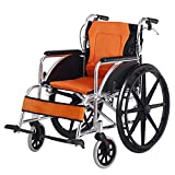 OLDHF Silla de Ruedas autopropulsable de Aluminio, Marco liviano y Plegable, para usuarios Mayores, discapacitados, Silla de Viaje de tránsito portátil, reposapiés Ajustables y extraíbles,Naranja